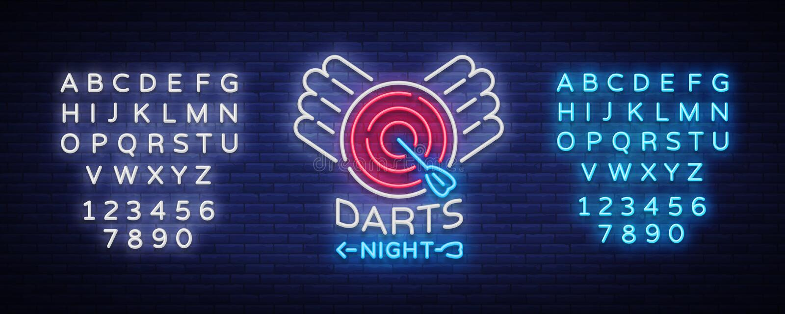 Darts neon sign. Vector illustration. Bright nightly Darts advertising, neon logo, symbol, lightweight banner, design. Template for your projects. Editing text royalty free illustration