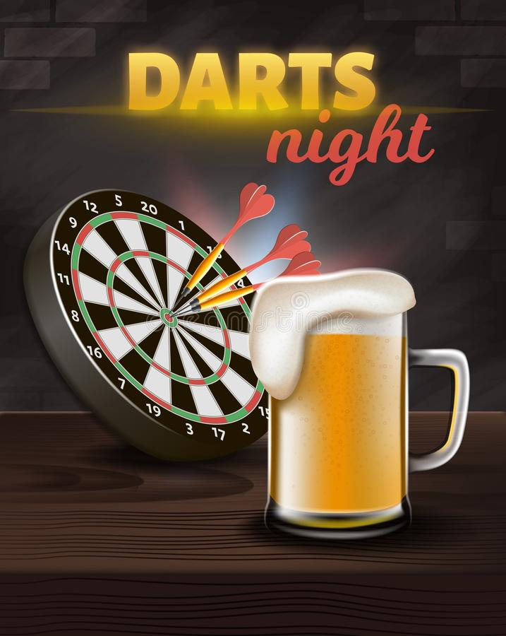 Darts Night Vertical Banner, Aim Board with Darts. In Center and Big Glass of Beer Stand on Wooden Table Surface on Brick Wall Background. Casino Gambling Games vector illustration