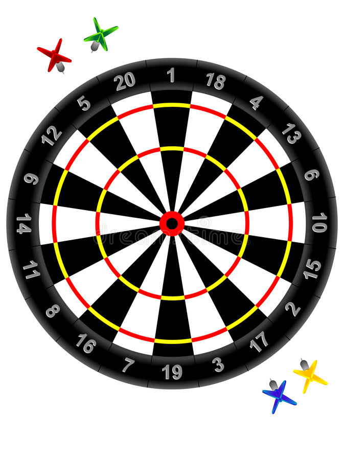 Darts and target royalty free illustration