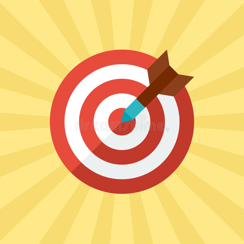 Darts target concept illustration in flat style.  vector illustration