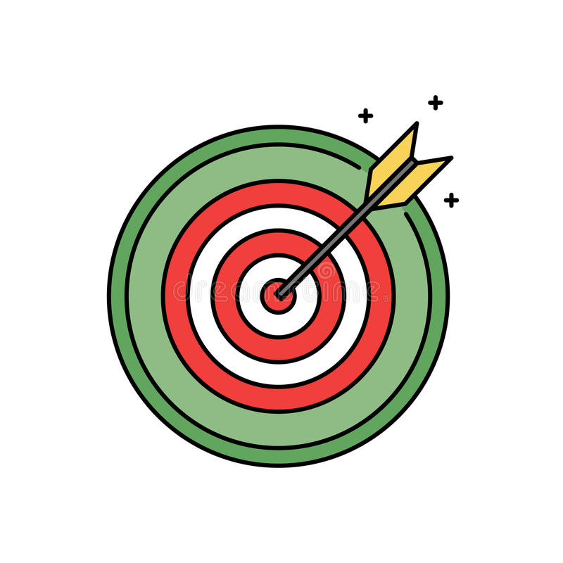 Darttavla med det cirkelsymbolen, framgång och målet för bullseye som den retro uppnår begrepp royaltyfri illustrationer