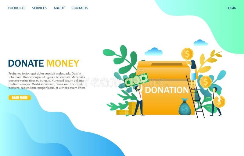 Daruje pieniądze strony internetowej lądowania strony projekta wektorowego szablon ilustracji