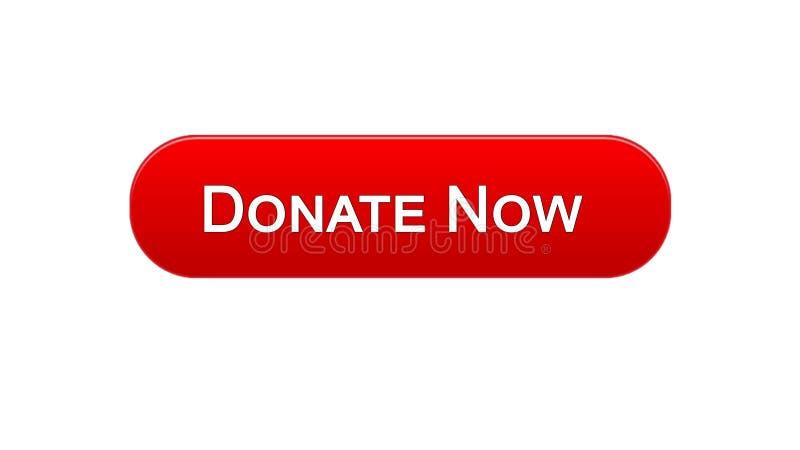 Daruje teraz sieć interfejsu guzika czerwonego koloru projekt, ogólnospołeczny poparcie, zgłaszać się na ochotnika royalty ilustracja