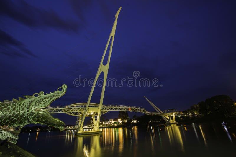Darul Hana Bridge Kuching, Sarawak Borneo immagine stock