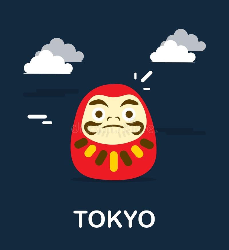 Daruma docka för bra förmögenhet i Tokyo illustrationdesign stock illustrationer