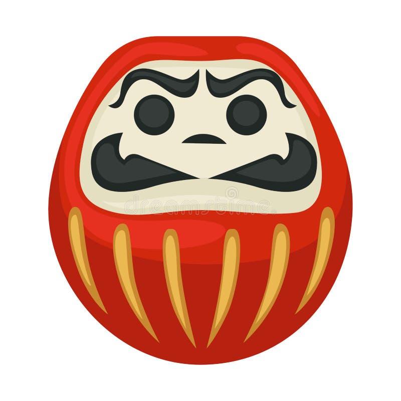 Daruma lali Japońskiego symbolu odosobniona szczęsliwa statua royalty ilustracja