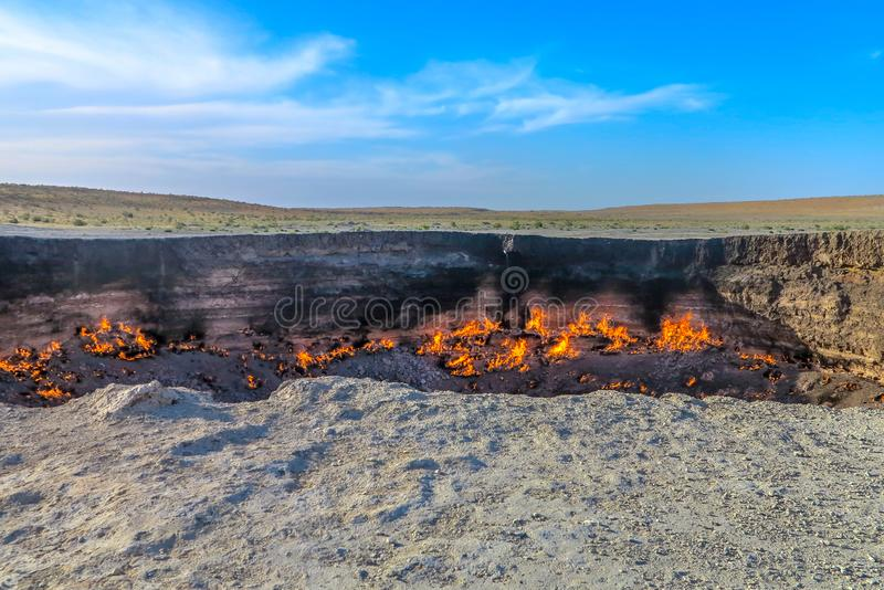Darvaza Gas Crater Pit 04. Darvaza Gas Crater Pit Breathtaking Awesome Appealing Amazing Close Up Flames View stock images