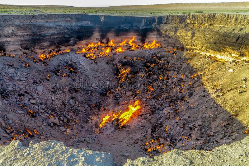 Darvaza Gas Crater Pit 05. Darvaza Gas Crater Pit Breathtaking Close Up Flames Awesome Appealing Amazing View stock photos