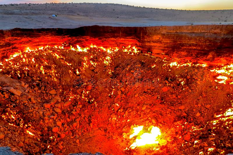 Darvaza Gas Crater Pit 09. Darvaza Gas Crater Pit Breathtaking Close Up Flames Awesome Appealing Amazing View royalty free stock photography