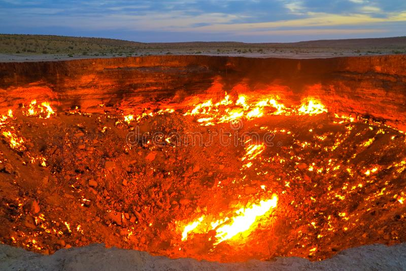 Darvaza Gas Crater Pit 16. Darvaza Gas Crater Pit Breathtaking Flames Close Up at Sunrise royalty free stock photography