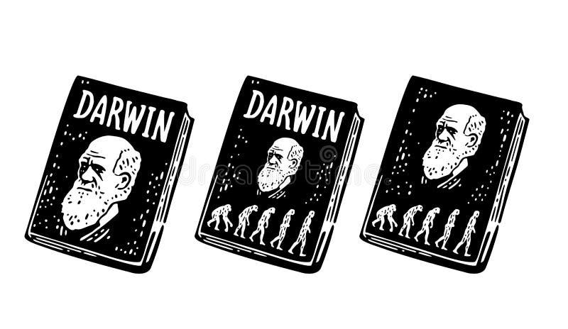 Darwin del libro la teoria dell'evoluzione dell'essere umano Dalla scimmia all'uomo Incisione d'annata illustrazione vettoriale