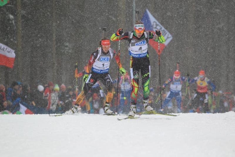 Darya Domracheva - capo di biathlon fotografie stock libere da diritti