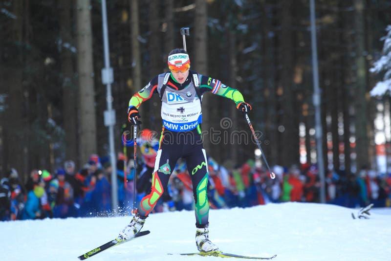 Darya Domracheva - coppa del Mondo nel biathlon fotografie stock