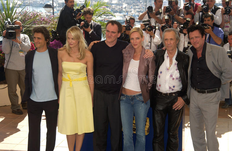 Daryl Hannah, David Carradine, de Buigmachine van Lawrence, Michael Madsen, Quentin Tarantino, Uma Thurman stock afbeelding