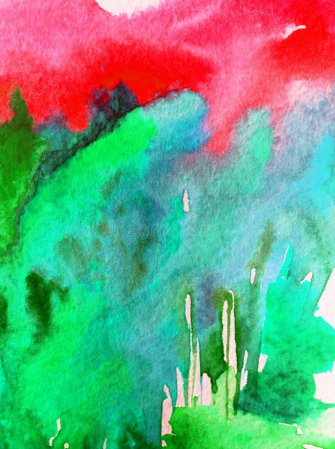 Das árvores modernas do monte da floresta da paisagem do fundo do sumário da arte da aquarela a lavagem molhada textured moderna  ilustração royalty free