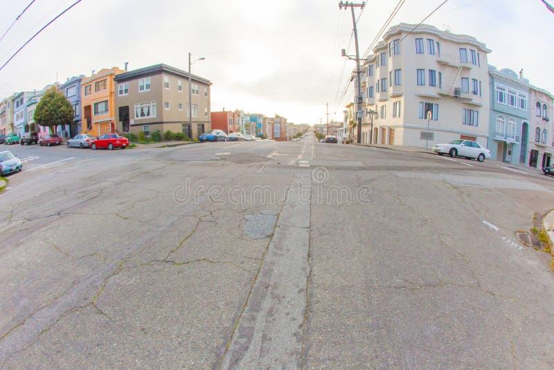 Das äußere Richmond in San Francisco mit im Hintergrund darunter stockfoto
