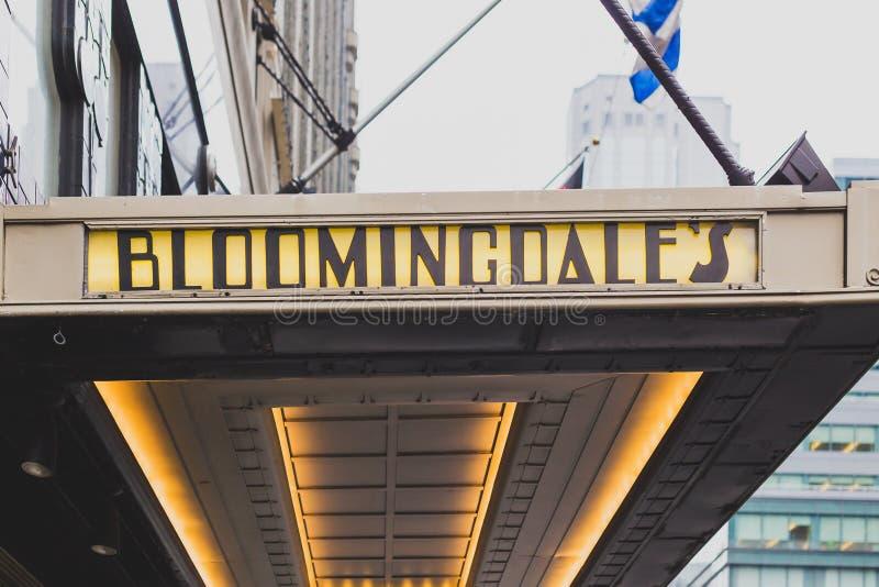 Das Äußere von Bloomingdale-` s Kaufhaus in Manhattan, an lizenzfreie stockfotos