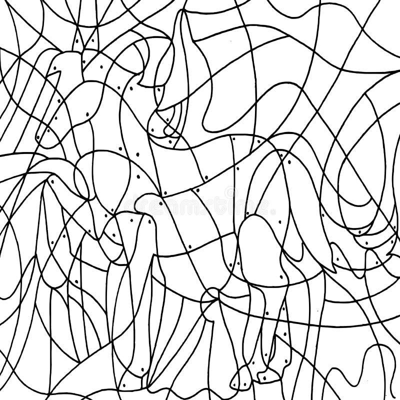 Das achte Spiel, das Pferd verborgen. stock abbildung