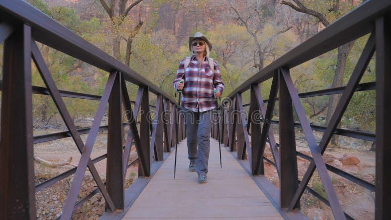 Das aktive Frauen-Wandern läuft eine Fluss-Brücke in Zion Park USA durch stockbild