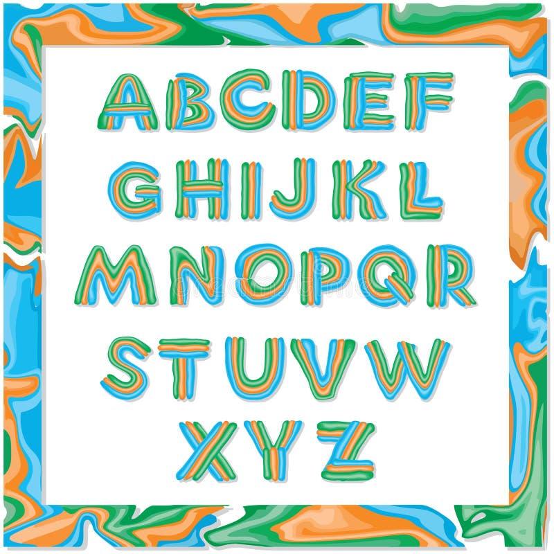 Das Alphabet von Plasticine, die Buchstaben werden in drei Farben gezeichnet lizenzfreie abbildung