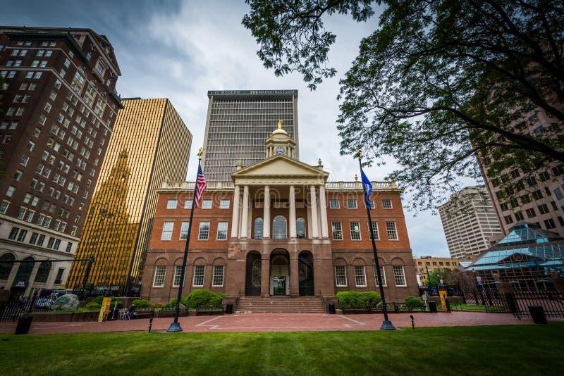 Das alte Parlamentsgebäude, in im Stadtzentrum gelegenem Hartford, Connecticut stockfotografie