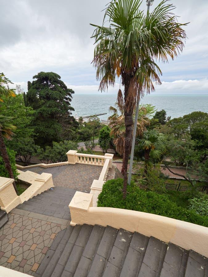 Das alte Treppenhaus in einem Park, steigend zum Meer ab lizenzfreie stockfotos