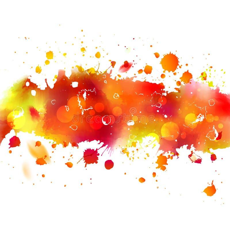 Das Aquarell, das orange Herbstband mit zeichnet, spritzt vektor abbildung