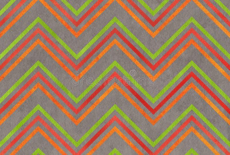 Das Aquarell orange, grün, rot und das Grau streift Hintergrund, Sparren stock abbildung