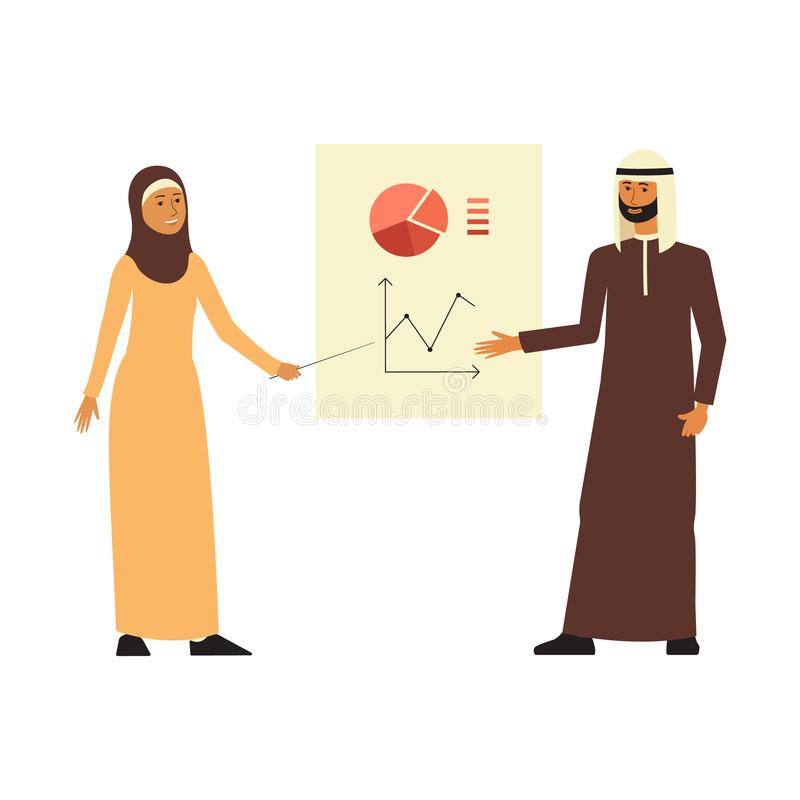 Das arabische Geschäftsmann- und Frauenstanddarstellen stellt flache Karikaturart grafisch dar lizenzfreie abbildung