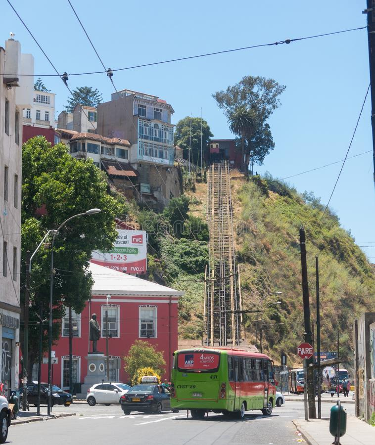 Das Artilleria funikul?r in Valparaiso, Chile Der Aufzug wurde im Jahre 1892 entlang dem Seehafen errichtet und ist 175 Meter hoc lizenzfreie stockfotos