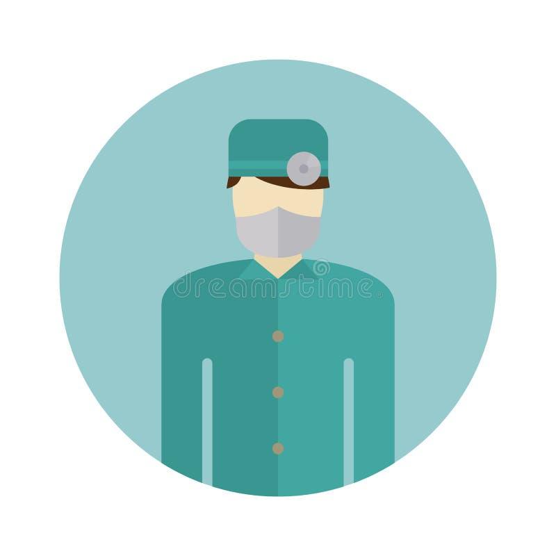 Das Arztschattenbildikonenkrankenschwester- oder -chirurgtragen scheuert sich mit Maske auf Gesichtsvektor lizenzfreie abbildung