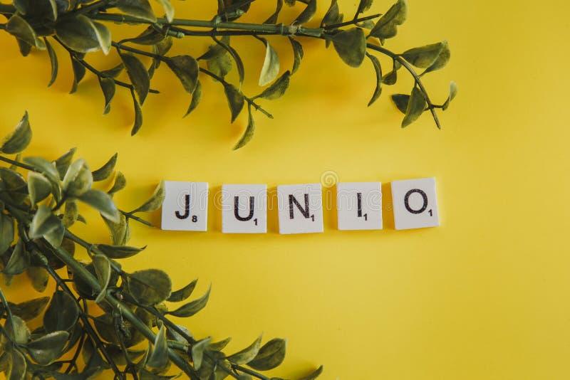 Das Aufschrift junio auf spanisch auf den Buchstaben der Tastatur auf einem gelben Hintergrund mit Niederlassungsblumen stockfoto