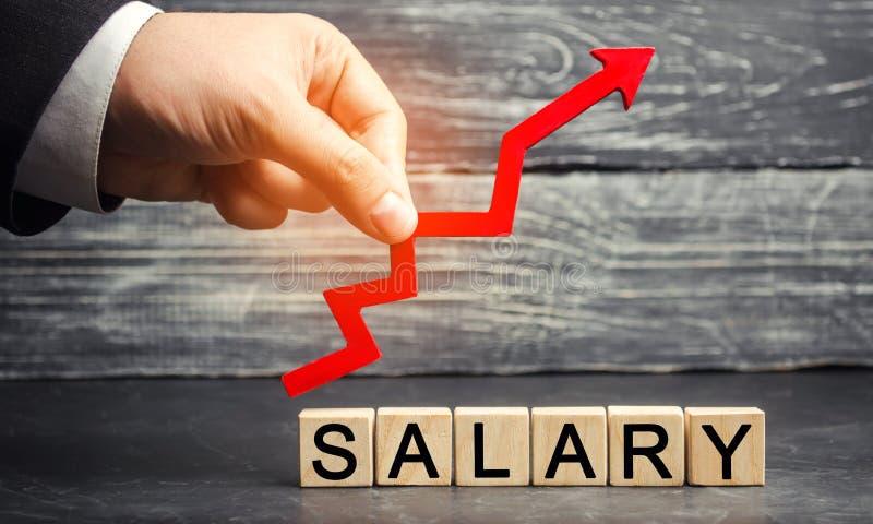 Das Aufschriftgehalt und der rote Pfeil oben Zunahme des Gehalts, Lohnsätze Förderung, Karrierewachstum Heben der Norm von stockfoto
