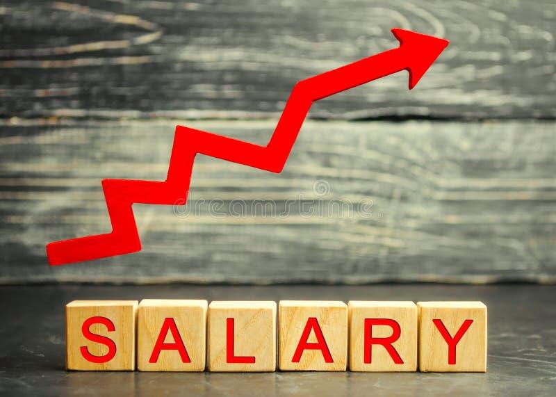 Das Aufschriftgehalt und der rote Pfeil oben Zunahme des Gehalts, Lohnsätze Förderung, Karrierewachstum Heben der Norm von stockfotografie