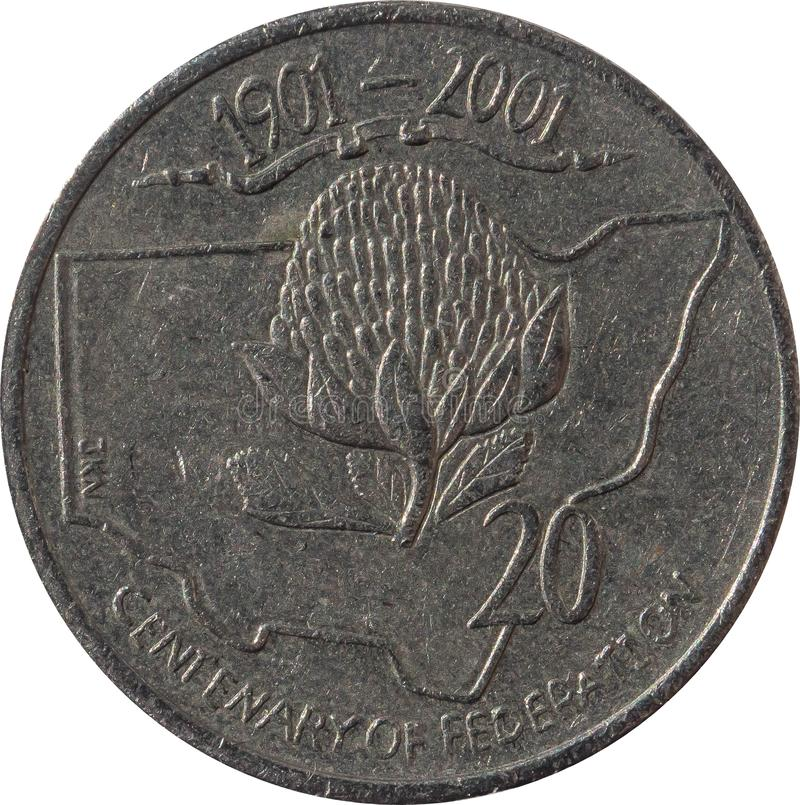 Das australische Zwanzigcent-Münze 1901-2001 Jahrhundert der Vereinigung, lokalisiert auf weißem Hintergrund stockbilder