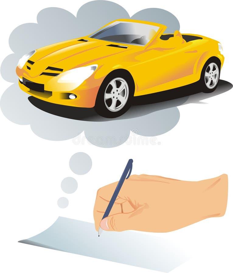 Das Auto auf Gutschrift lizenzfreie abbildung