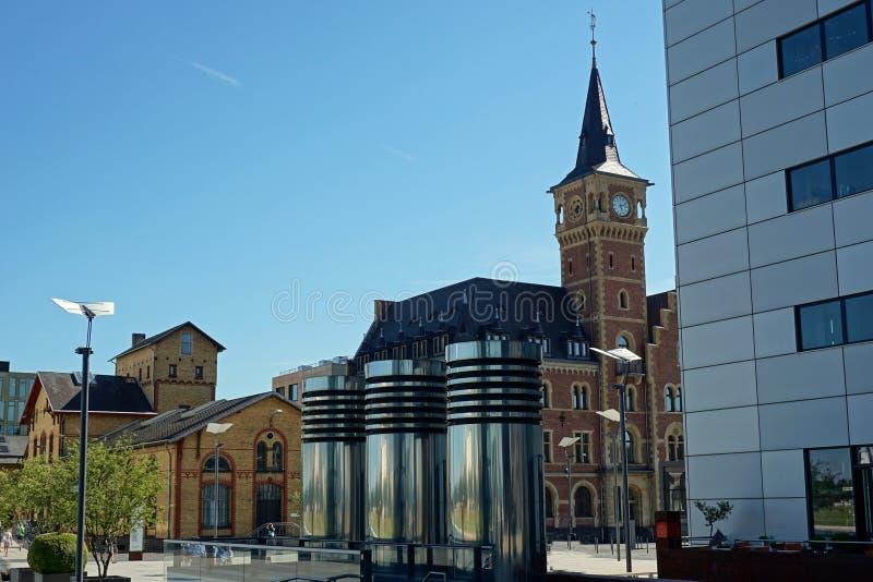 Das Büro des alter Hafen-Meisters im Rheinauhafen Köln, Deutschland lizenzfreies stockbild
