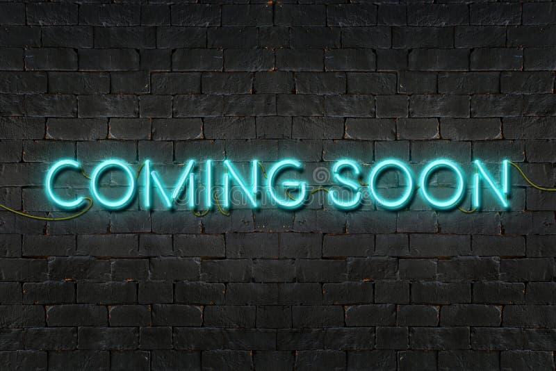 `, das BALD ` Leuchtreklame glänzt auf schwarzer Backsteinmauer, Geschäftskonzept KOMMT lizenzfreie abbildung