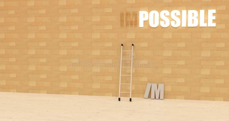 Das beleuchtete unmögliche Zeichen änderte zu möglichem auf einer Wand innerhalb eines pubblic Raumes - Wiedergabe 3D lizenzfreie abbildung