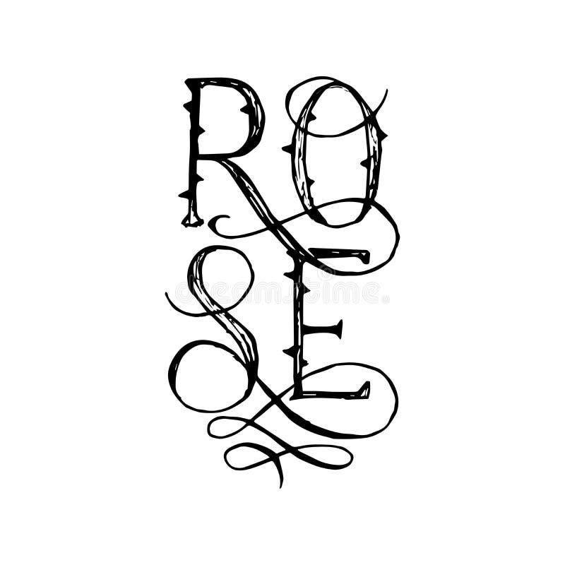Das beschriftende Wort Rose mit blüht und kalligraphische Alphabet-Buchstaben Isloated-T-Shirt Entwurfs-Schablone für Druck stock abbildung