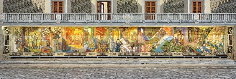Das Besetzungs-Fries auf der Ost- Wand von Haupt-Hall in OsloRathaus, Norwegen lizenzfreie stockfotografie
