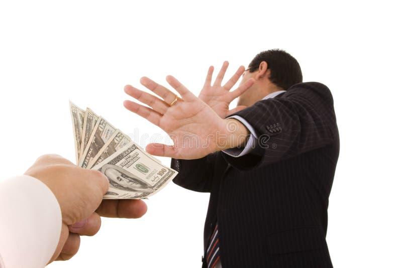Das Bestechungsgeld stockbild