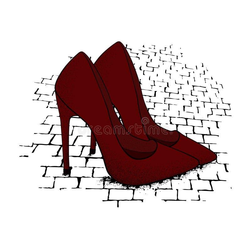 Das Bild der modernen stilvollen Schuhe der roten Farbe auf Granit p stock abbildung
