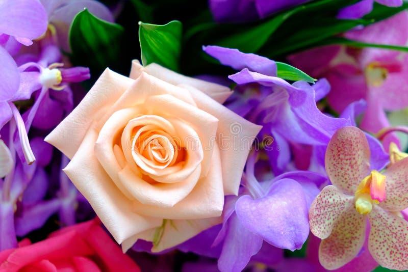 Das Bild des bunten Rosenblumenblumenstraußes mit Unschärfehintergrund stockfoto