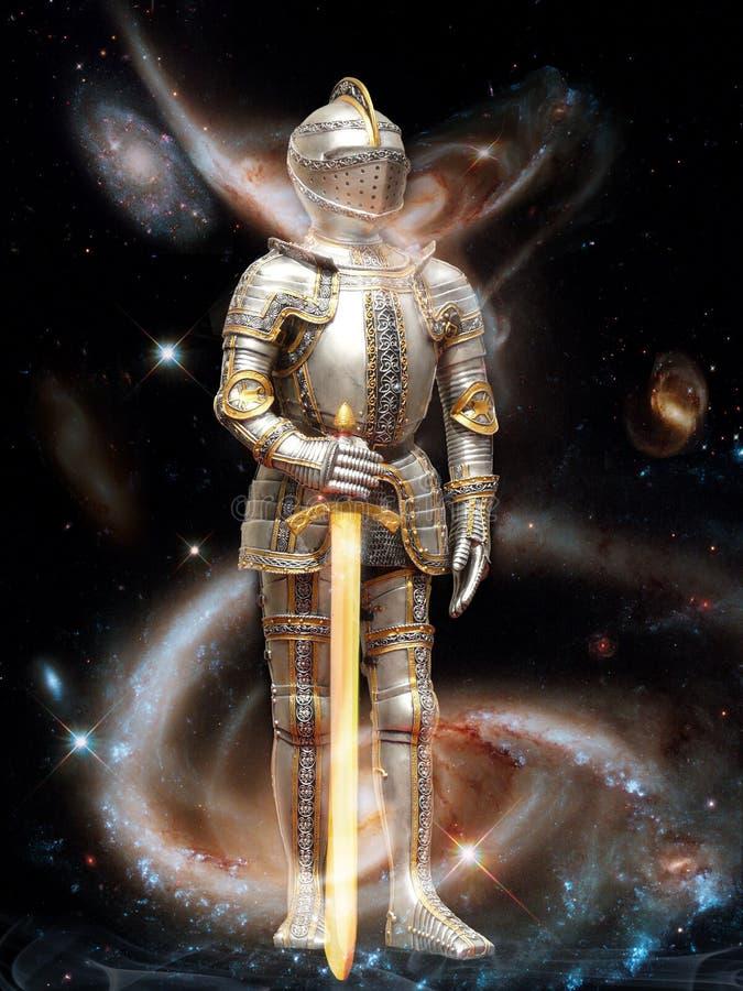Das Bild des Ritters, der planetarische Verteidiger des Universums stock abbildung