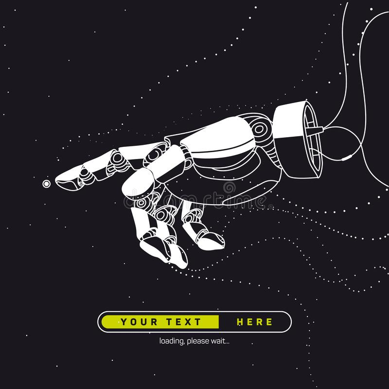 Das Bild des Roboterarmes auf den Drähten Künstliche Intelligenz, die Zukunft stock abbildung