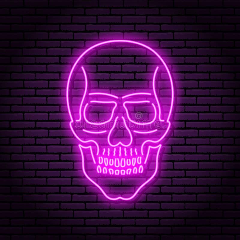 Das Bild des Schädels der purpurroten Neonlampen mit einem hellen Glühen auf dem Hintergrund eines Ziegelsteines vektor abbildung