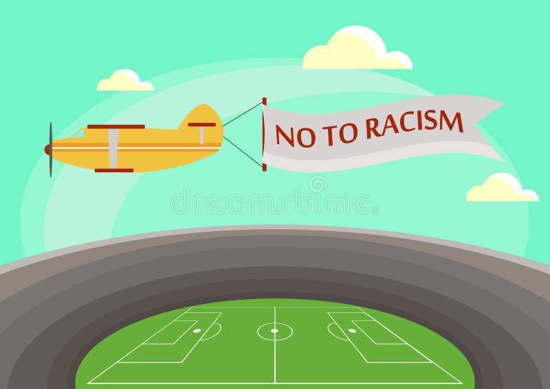 Das Bild eines Flugzeuges, das über ein Fußballstadion mit einer befestigten Fahne mit Text nein zum Rassismus fliegt Vektor stock abbildung