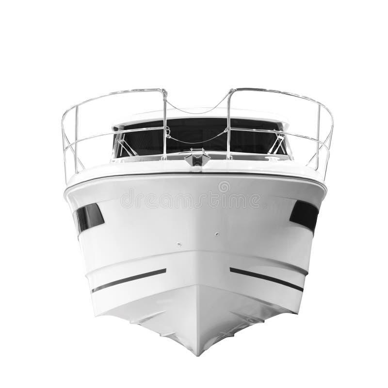 Das Bild eines Passagiermotorboots, Bogen des Schiffs, Vorderansicht, lokalisiert auf weißem Hintergrund lizenzfreies stockfoto