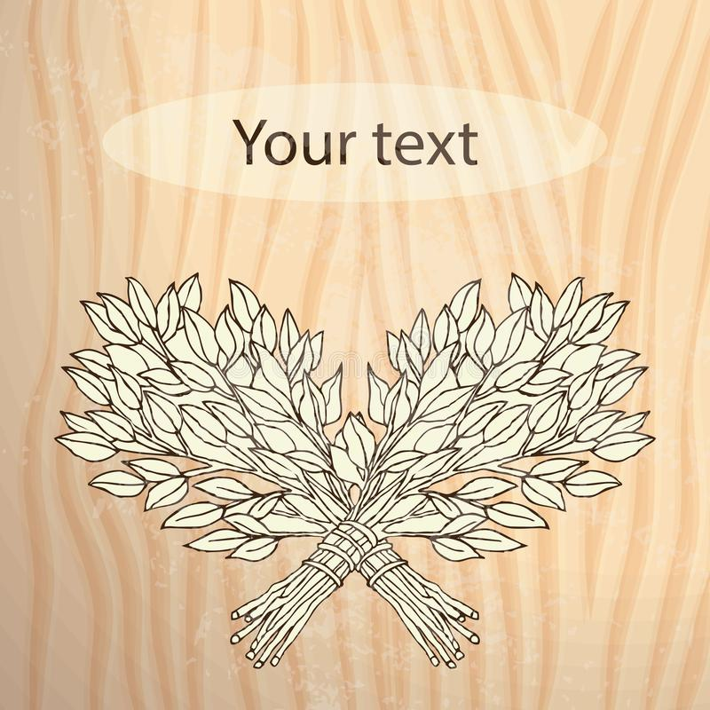 Das Bild für das russische Bad Birke wischt für die Sauna Logo für die Badfirma Platz für Ihren Text Hand stock abbildung